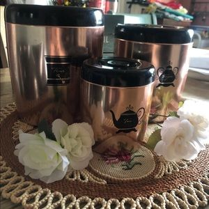 Vintage copper tin kitchen containers
